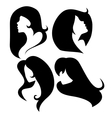 set female cameo silhouettes vector image vector image