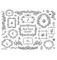 set floral doodle grames dividers vector image vector image