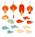 set red chinese lanterns with decorative vector image