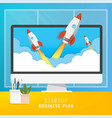 startup workplace business concept with rocket vector image vector image