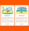 summer fun poster swimming and eating vector image vector image