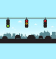 traffic lights - cars in city with skyline vector image