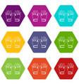 winter gloves icon set color hexahedron vector image vector image