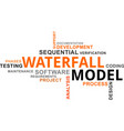 word cloud - waterfall model vector image vector image