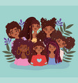 young women afro american characters avatar female vector image