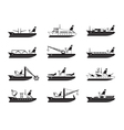 Diverse commercial and passenger ships vector image