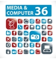 36 media computer buttons vector image vector image