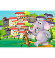 A deer and an elephant running at the hilltop vector image vector image