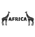 africa banner with patterned giraffes black and vector image vector image