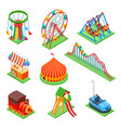 amusement park isometric elements ferris wheel vector image