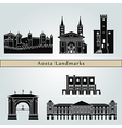 Aosta landmarks and monuments vector image vector image