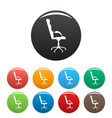 armchairwith armrests icons set color vector image vector image