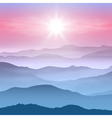 Background with sun and mountains in the fog vector image vector image