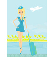 Beautiful stewardess with baggage on airport vector image vector image