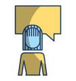 businesswoman and speak bubble talk message vector image vector image