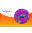 car service banner with engine wheel brakes and vector image vector image
