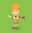caucasian boy in hard hat using a measuring tape vector image vector image