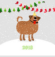 christmas 2018 dog vector image vector image
