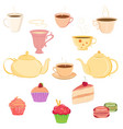collection of teacups teapots and sweets vector image