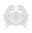 Crab coloring book for adults vector image vector image