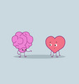 cute human brain and heart couple standing vector image