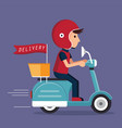 delivery with scooter vector image vector image