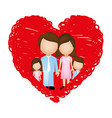 family together inside of heart vector image vector image
