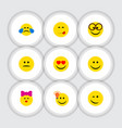 flat icon emoji set of pleasant winking caress vector image vector image