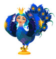 folk character bird with a woman face vector image vector image