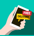 free delivery flat design phone vector image vector image
