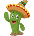 happy cactus waving hand isolated on white backgro vector image vector image