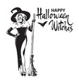 happy halloween witches hand drawn calligraphy vector image vector image