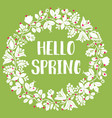 hello spring white and red watercolor wreath card vector image
