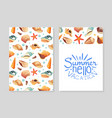 hello summer vacation card template with seashells vector image vector image