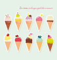 ice cream cone set paper cutout stickers bright vector image