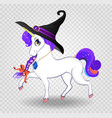 kawaii cartoon unicorn with purple hair in witch vector image vector image