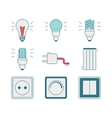 line style icons electricity tools vector image