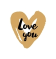 Love you Valentine on golden heart vector image vector image