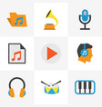 multimedia flat icons set collection of portfolio vector image