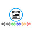 november calendar grid rounded icon vector image vector image