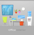 office interior or workspace vector image vector image