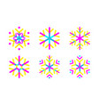 oval strips geometric snowflake set icon trendy vector image
