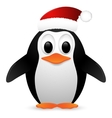Penguin with santa hat vector image vector image