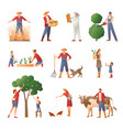 people in farming flat icons set vector image vector image