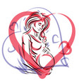 pregnant elegant woman expects baby hand-drawn vector image