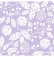 Purple line art flowers seamless pattern vector image vector image
