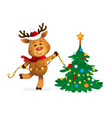 rudolph reindeer decorating christmas tree vector image