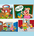 set animal student at school background vector image