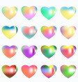 set multi-colored hearts isolated on white vector image vector image