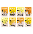 set of hand-drawn posters with honey bees vector image